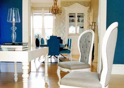 cool-table-lamp-plus-laminate-wood-floor-and-upholstered-chairs-on-sleek-blue-dining-room-ideas